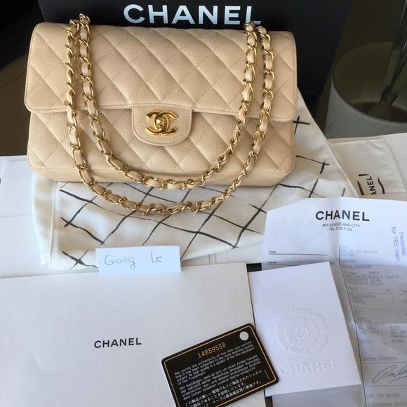 5d27c52be61f CHANEL Handbags - Chanel Beige Medium Caviar Classic Flap Gold HW